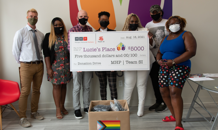 MHP/Team SI DE&I committee makes $5,000 donation to Lucie's Place to supports LGBTQIA+ youth.